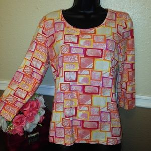 Multi color top with sleeves